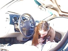 Teen handjob in SUV is great to jerk to