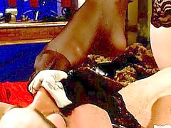 Maitrese Madeline strapping her slave