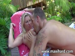 Hot mature blonde gets fucked poolside