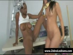 Zebra Girls - Ebony lesbian babes enjoy deep strap-on fuck 03