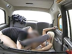Lusty blonde passenger big boobs flashed and pounded