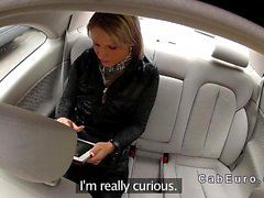 Blonde fucked leaning on hood of fake taxi
