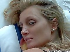 Dirty blonde slut gets horny