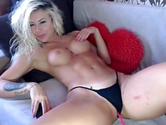 Big boobs of blonde babe sucked on
