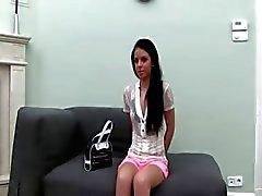 Hot babysitter teasing in pink underwear