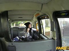 Backseat Fucking action inside a taxi with a petite