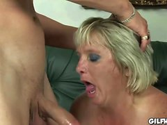 Old granny gets her hairy pussy fucked by perverted dude