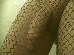 Prostate Massage. Precum and Cum-Shot in Black Net Thights