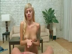 POV blonde delicate girl giving her best tugjob