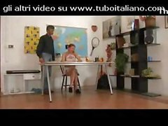 Young brunette schoolgirl in pigtails gets fondled by the teacher