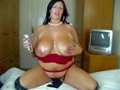 Fatty hand-blow job cum on TITS