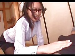 Office Lady With Glasses Giving Blowjob For Guys On The Floor In The Room