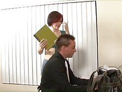 Cute redhead slut with perky tits loves to suck off her teacher and get fucked