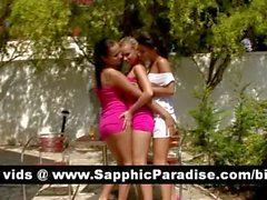 Sexy brunette and blonde lesbians kissing in a great three way lesbian orgy
