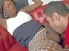 Chocolate skinned Shemale Fabiola jas oral sex with white guy