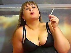 cute chubby Russian smokes