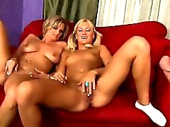 Horny big tits MILF makes threesome with her slutty daughter