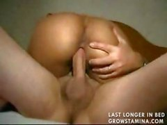 Hot ebony plays with herself and eats cock before he drills her