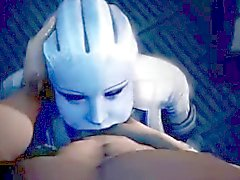 Mass Effect Liara Deepthroat blowjob