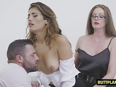 Hot pornstar threesome with cum kiss