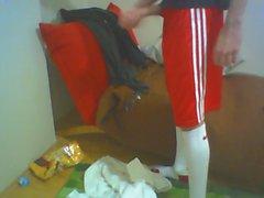 Turkish boy Baris - jerking in football uniform