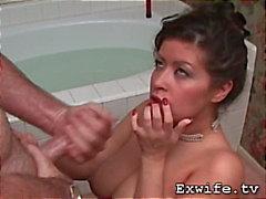 My curvy wife sucks me off and tastes my cum