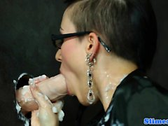 Gloryhole loving skank covered in jizz