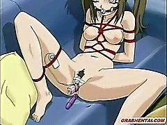 Roped hentai cutie with muzzle gets dildoed ass and pussy