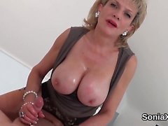 Adulterous british milf lady sonia pops out her massive hoot