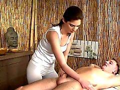 Bare dude gets cock massage until cum
