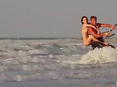 Sexy playmates go bad ass and try out kite surfing naked