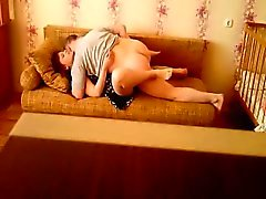 Hot couple fucks on the sofa