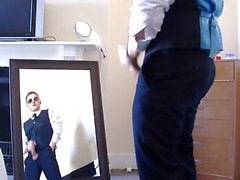 Hot Uncut Guy Jerks Off In Front of a Mirror