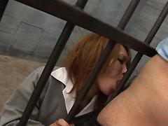 Prisoner beauty sucks the guyards dick in her cell