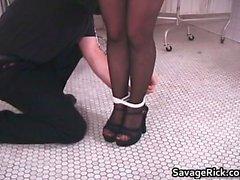 Kinky brunette slut gets tied in rope