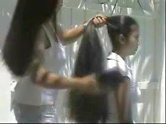 Cecelia and Trinty Dual Long Hair Brushing