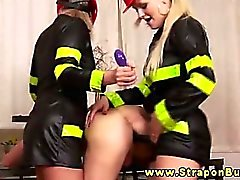 Femdom firefighters punish his ass