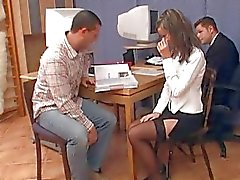 Teen expiriencing group sex in the classroom