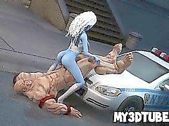 Babe de dessin animé bleu en 3D se fait fuckced dure par les La chose la