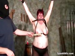 Chubby busty brunette gets tied part2