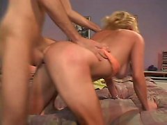 Sexy blonde MILF eats his meat before taking it in her bald cunny