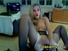 Slutty blonde toying pussy and squirt on web