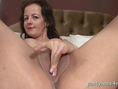 Brunette Linde Loves Just How Pantyhose Feel