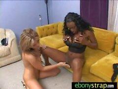Lesbo Honey takes a strapon from ebony Hottie 16