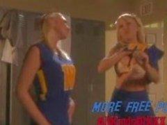 Two blonde lesbian cheerleaders in lockerroom