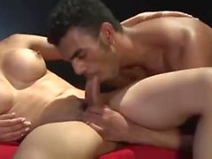 Busty blonde whore & muscle guy drill each other