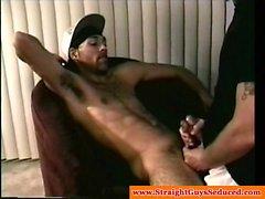 Straight white ghetto boy makes a black thug cum hard