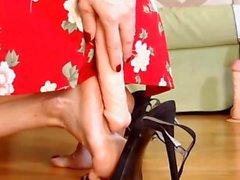 Black sandals dildo orange crush feet show