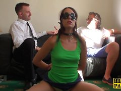Bound euro sub clamped and kicked during sex