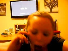 Cheating White Girl Sucks BBC While Talking to Husband on the Phone